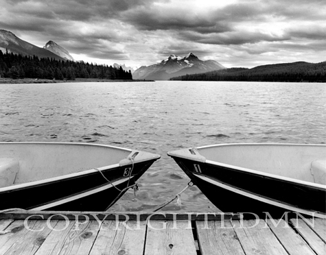Two Boats At Lake Maligne, Canadian Rockies 06