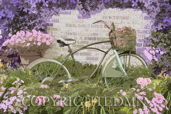 Bicycle & Flowers, Michigan 09 – painterly