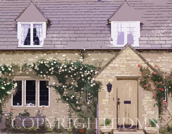 Cottage With Rose Vines, England 89 – painterly