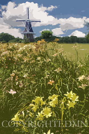 Windmill & Lillies, Holland, Michigan 10 – painterly