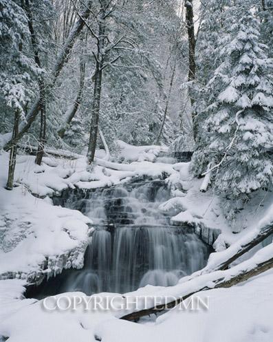 Wagner Falls In Winter, Munising, Michigan 91-color.jpg