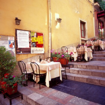 Tables On The Steps, Sicily, Italy 06 – Color