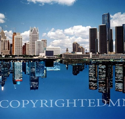 Detroit Skyline (day night reflection), Michigan