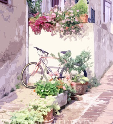 Bike Among The Flowers, Italy - Color 01- painterly