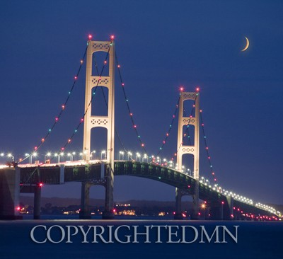 Macinaw Bridge at Night, St. Ignace, Michigan 10-color