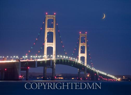 Mackinac Bridge At Night St Ignace Michigan 10 Color