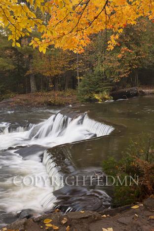 Bond Falls & Orange Leaves, Bruce Crossing, Michigan 12-color