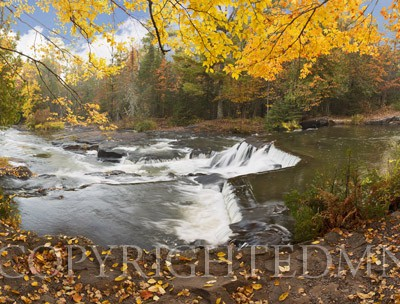Bond Falls In Autumn Panorama #2, Bruce Crossing, Michigan 12-color