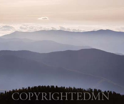 View from Clingmans Dome, Great Smoky Mountians, Virginia - Color