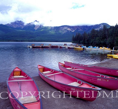 Four Pink Boats, Canadian Rockies 06 - Color