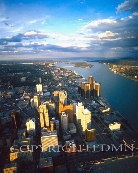 Aerial Of Detroit 99, Detroit, Michigan - Color