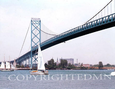 Ambassador Bridge & Boats, Detroit, Michigan - Color