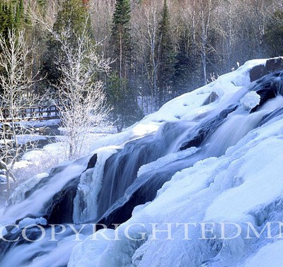 Bond Falls In Winter, Bruce Crossing, Michigan - Color