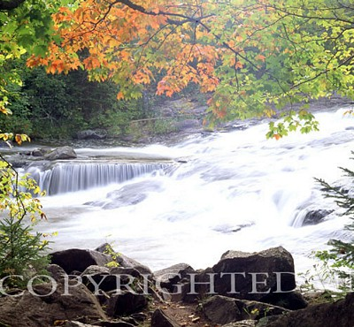 Bond Falls With Fall Foliage, Bruce Crossing, Michigan - Color