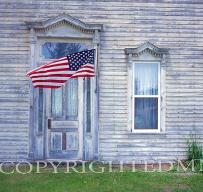Old House & Flag, Omer, Michigan 04 - Color