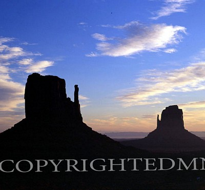 The Mitten Silhouette, Monument Valley, Arizona - Color