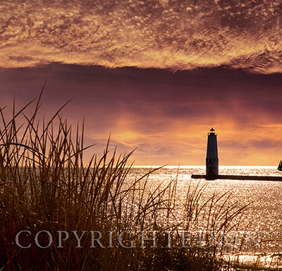 Frankfort Lighthouse at Sunset, Frankfort, Michigan '13-color