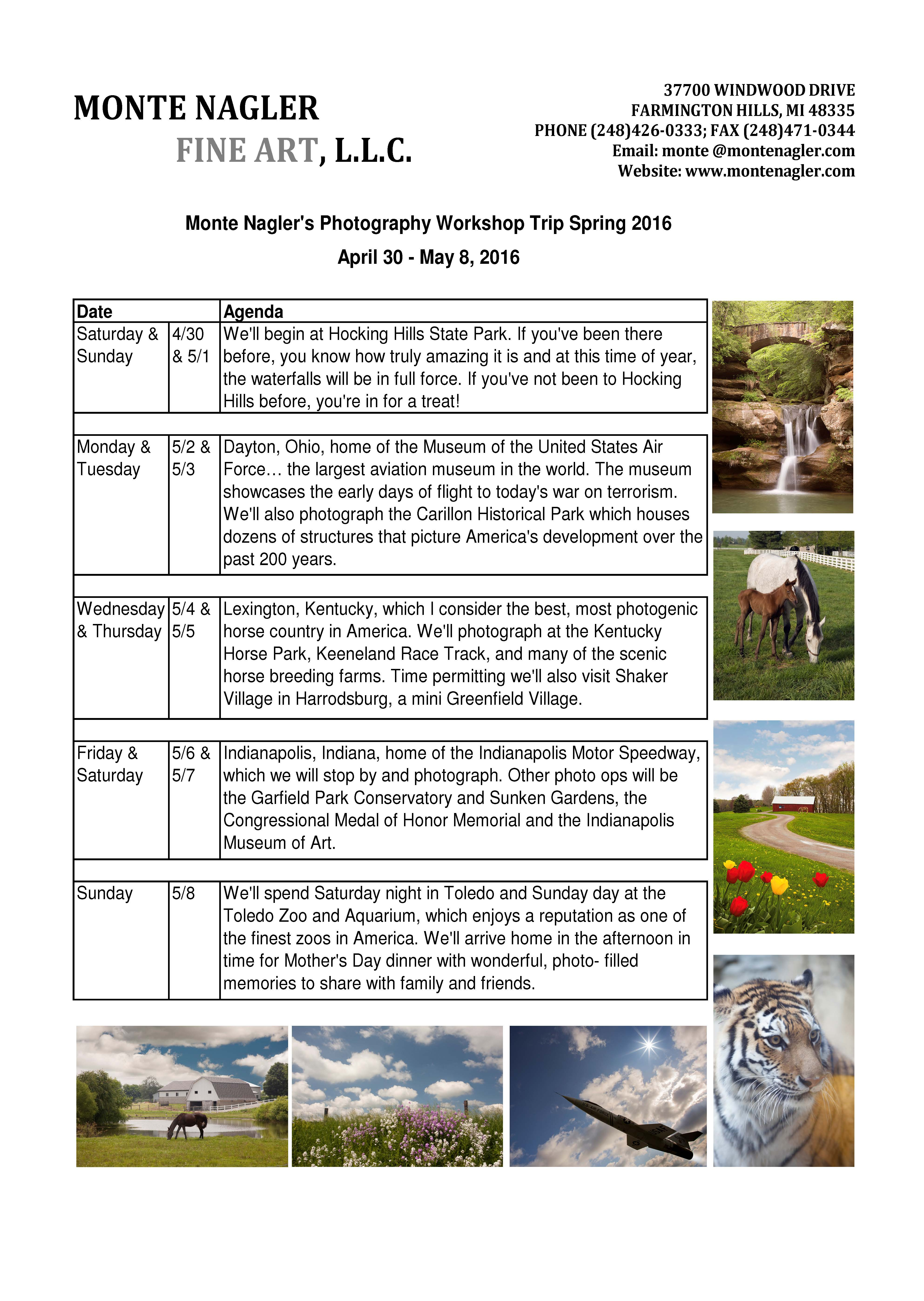 Itinerary for Photography Trip Spring 2016