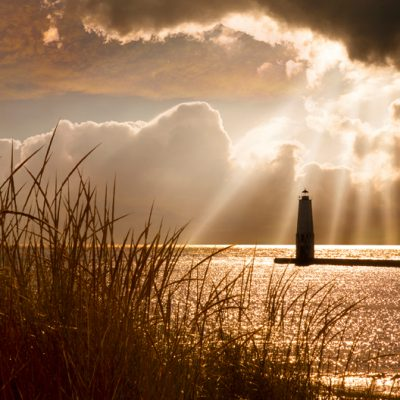 Frankfort Lighthouse and Sunbeams, Frankfort, Michigan '13-color