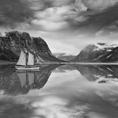 Mountain Reflections #2,with Moon & Boat, Baffin Island, CA 81